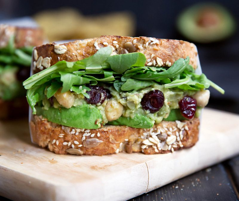 Smashed Chickpea and Avocado Salad Sandwich